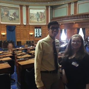 Students at the Boston State House for Library Legislature Day.