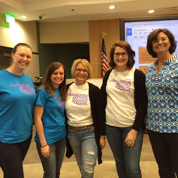 Team Ike at the Guided Inquiry Institute in Norman, October 2015. (Leslie now has her own matching Ike shirt). From left: Maggie Allen, Gifted Resource Coordinator; Karen Campbell, 1st grade teacher; Lisa Raiber, Instructional Coach; Kelsey Barker, Teacher Librarian; Leslie Maniotes