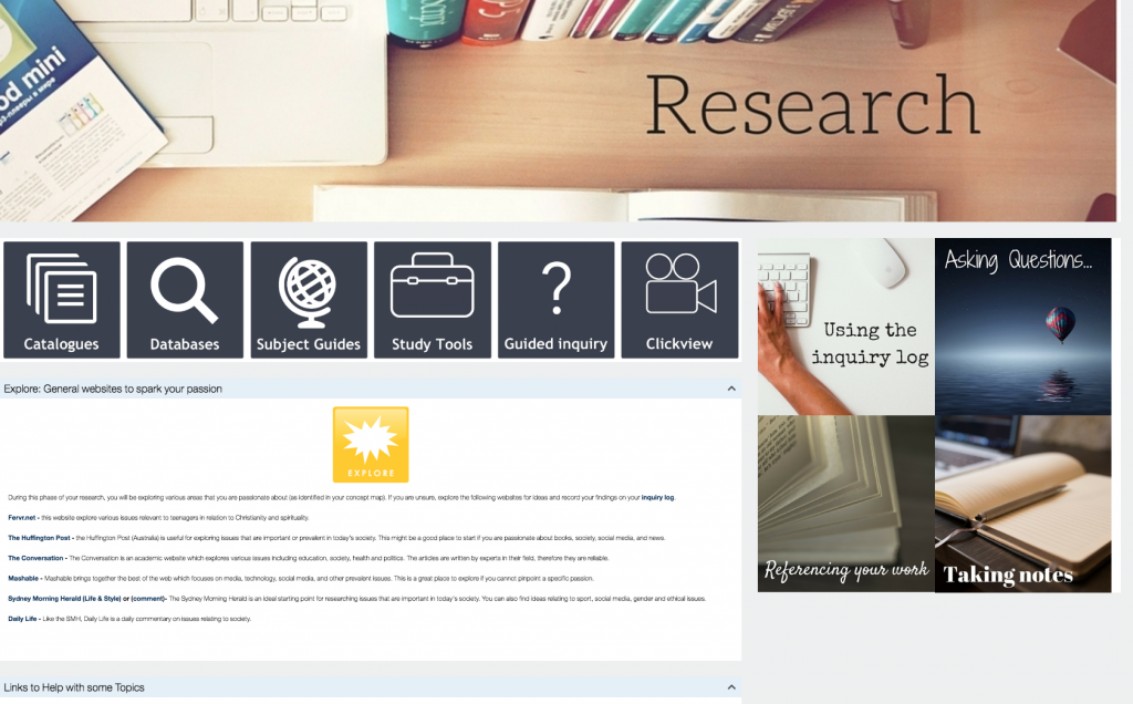 This page of resources held sources for students to explore as well as videos which were allocated to each stage of the Guided Inquiry process