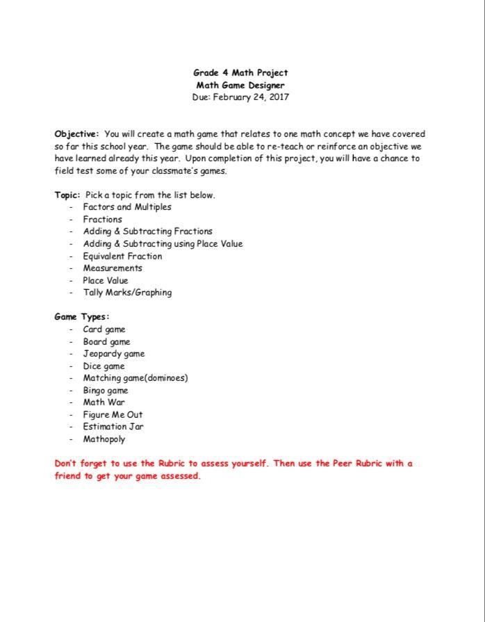 Math Game Design Project - Grade 4