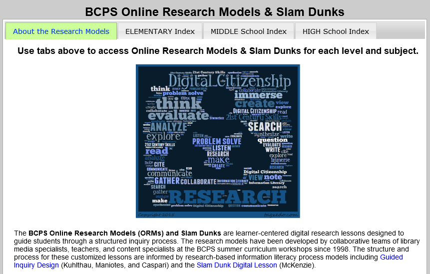 BCPS Online Research Models & Slam Dunks portal screenshot