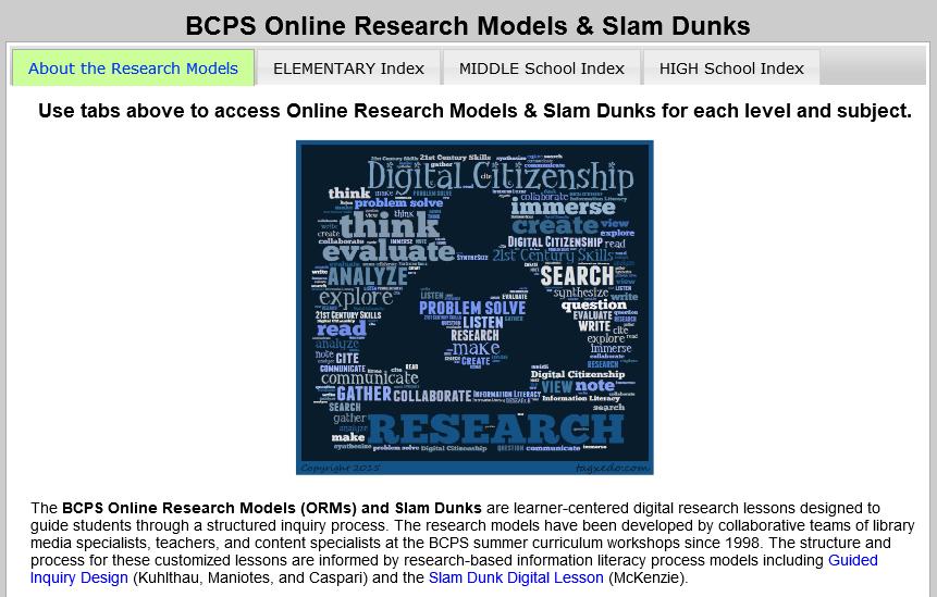 BCPS Online Research Models & Slam Dunks portal screenshot